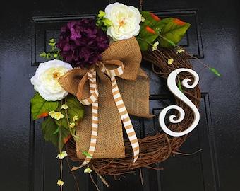 Purple wreath for summer, summer wreath, spring door wreath, wreath for door
