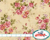 SHABBY ROSE FLORAL Fabric by the Yard Fat Quarter Pink & Cream Fabric Shabby Chic Fabric Rose Fabric 100% Cotton Fabric Quilting Fabric t1-4