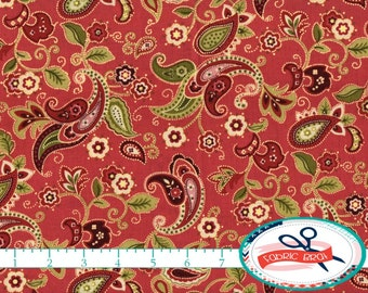 SHABBY CHIC PAISLEY Fabric by the yard Fat Quarter Floral Fabric Red & Green Fabric 100% Cotton Fabric Quilting Fabric Apparel Fabric t2-18