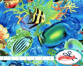 TROPICAL FISH Fabric by the Yard, Fat Quarter Salt Water Fish Fabric Underwater Fabric Quilt Fabric Apparel Fabric 100% Cotton Fabric t3-24