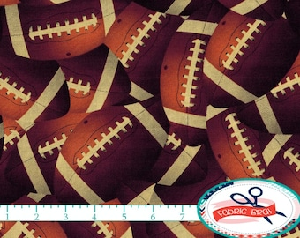 FOOTBALL Fabric by the Yard, Fat Quarter TOSSED FOOTBALL Fabric Sports Fabric Boys Quilting Fabric Apparel Fabric 100% Cotton Fabric t6-29