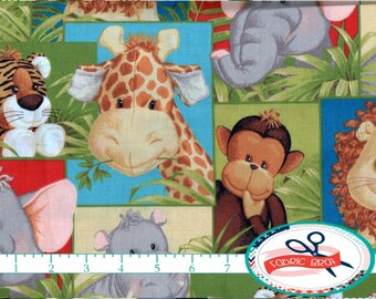 JUNGLE BABIES Fabric by the Yard, Fat Quarter Patty Reed Baby Animal Fabric Giraffe Fabric Quilting Fabric 100% Cotton Fabric Yardage t5-34