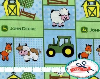 BABY JOHN DEERE Fabric by the Yard, Fat Quarter Blue & Green John Deer Farm Fabric Quilting Fabric Apparel Fabric 100% Cotton Fabric t5-21
