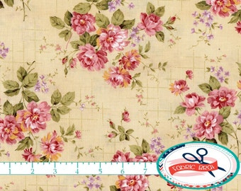 SHABBY ROSE FLORAL Fabric By The Yard Fat Quarter Pink Cream Shabby Chic