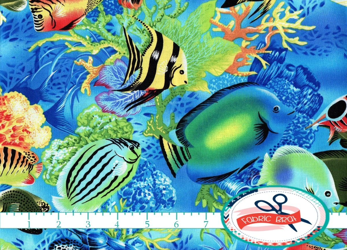 Tropical fish fabric by the yard fat quarter ocean saltwater for Fish fabric by the yard