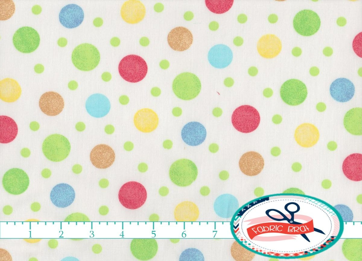 Pastel dots fabric by the yard fat quarter nursery fabric for Baby nursery fabric yard