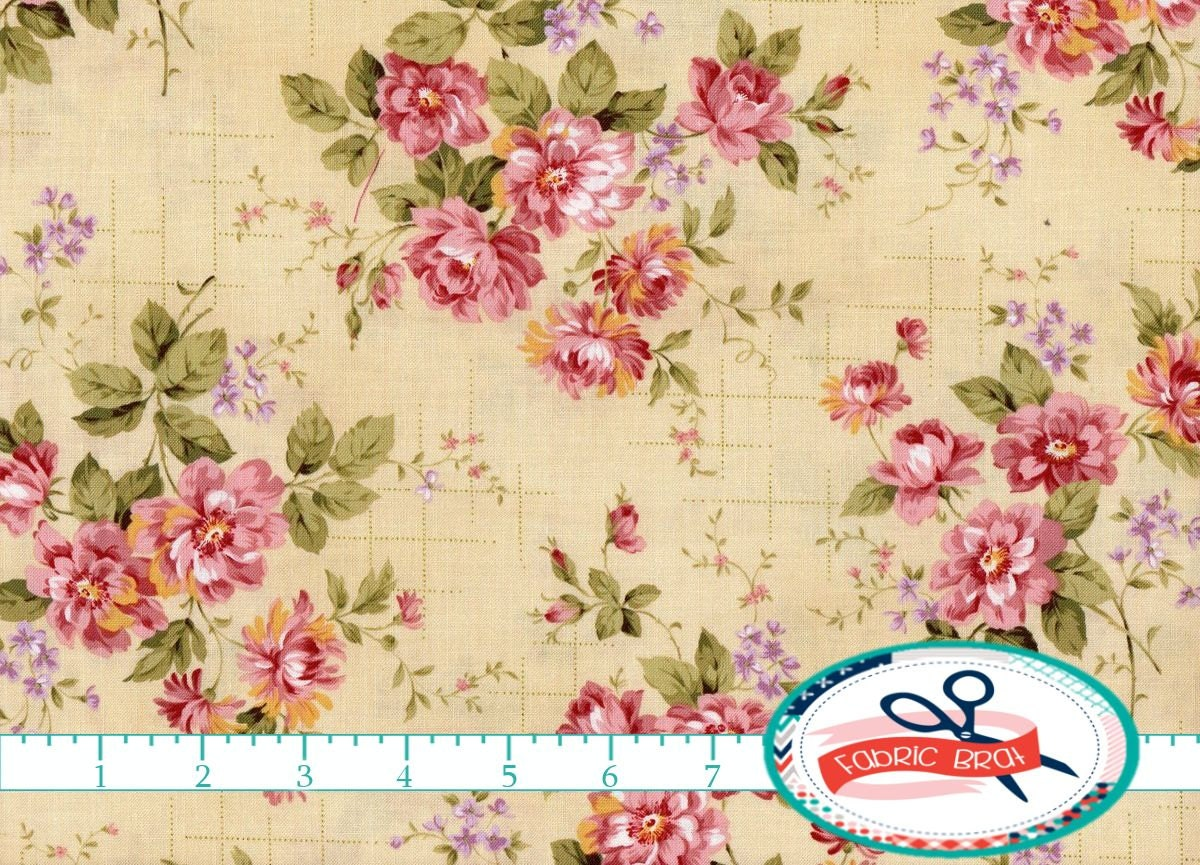 shabby rose floral fabric by the yard fat quarter pink cream fabric shabby chic fabric rose. Black Bedroom Furniture Sets. Home Design Ideas