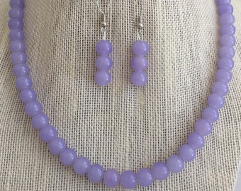 Lilac Beaded Necklace, Purple Bridesmaid Necklaces, Lavender Bridal Jewelry, Purple Wedding Jewelry Set, Purple Beaded Jewelry