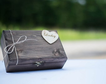 Bridesmaid Gift Box Set of 3 - Rustic Wooden Gift Box - Heart Attached - ECO Friendly NO Smell Stain - Felt Lining - Laser Engraved