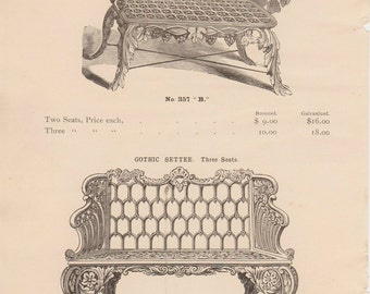 1894 Architectural Iron Chair and Settee Drawing