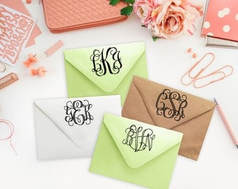Custom Rubber Stamp-Monogram Stamp-Vine Monogram Typography-Wood mounted Stamp or Self Inking Rubber Stamp-Great for Gifts or Wedding Gift