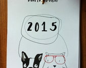 2015 Mini wall calendar (12 months) cats and dogs