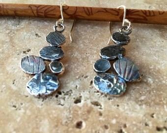 Sterling silver dangle river rocks earrings