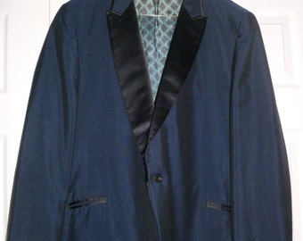 1950s Navy and Black Suit Tuxedo Jacket Blazer 42