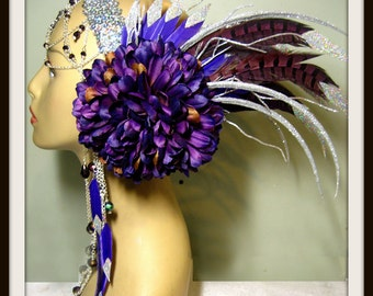 Ready to ship -Tribal Headpiece ~ Head dress ~ Bellydance ~ Burning Man, Fantasy Wear, Fairy Head dress, Fairy Headpiece, burlesques