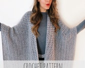 PATTERN for Blanket Poncho Crochet Wrap Cape Cardigan Ruana Boho // Blanket Ruana PATTERN