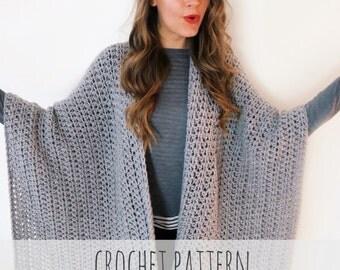 PATTERN for Blanket Poncho Crochet Wrap Cape Cardigan Ruana Boho // Blanket Ruana PATTERN