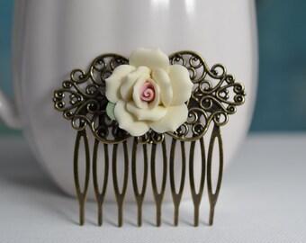 Bridal Hair Comb, Porcelain Rose Comb, Cream Rose Bridal Comb, Flower Hair Accessory, Wedding Hair, Cream Bridesmaid, Candlelight Rose H1012