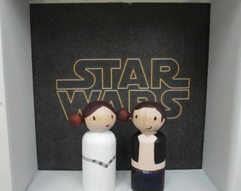 2 Magnetic Star Wars Inspired - hand painted wooden dolls