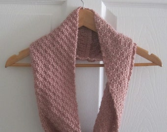 Pink Knit Cowl Scarf - Hand Knit Reversible Pink Mini Scarf - Eco Friendly
