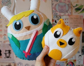Fionna and Cake - Felt Owl Plushies - Owlventure Time!