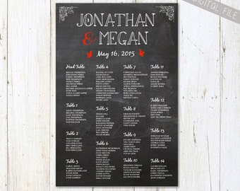 PRINTABLE Red Wedding Seating Chart Chalkboard - Custom wedding seating board plan - DIGITAL file!