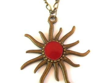 Sun necklace, Red sun pendant, Aztec sun necklace, Sun Jewelry, Gift idea, Boho necklace