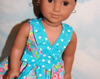 18 Inch Doll (like American Girl) Turquoise and Pink Floral Ruffled Wrap Front Dress