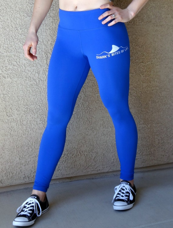 Royal blue performance leggings by shark's bites of life with shark fin