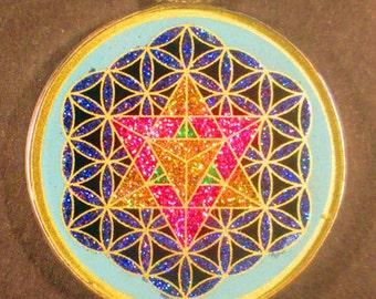 Merkaba in Flower of Life Sacred Geometry Gemstone Pendant