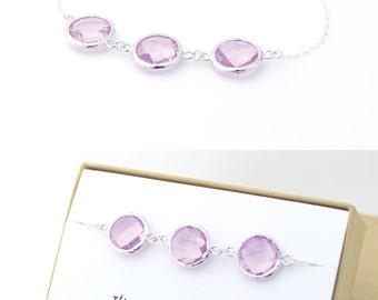 Lavender Purple / Silver Triple Circle Bracelet - Purple Jewelry - Bridesmaid Bracelet - Wedding Jewelry - Bridesmaid Gift - BB3
