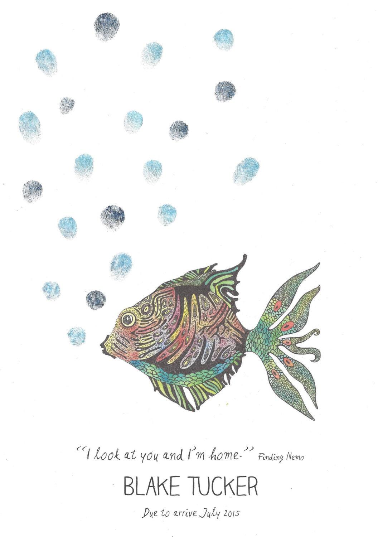 Fish Fingerprint Guest Book Color Or Ink Bubbles Water