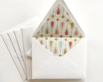 Sale A2 Envelopes -Set of 5-  Paper lined contour flap envelopes, Decorative multicolored envelopes, modern, gold, red, orange