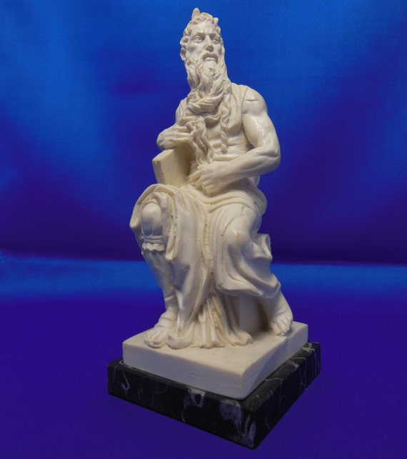 """Vintage Signed Santini """"Moses"""" Horned Gothic Roman Greek God Sculpture on Marble Base From Italy"""