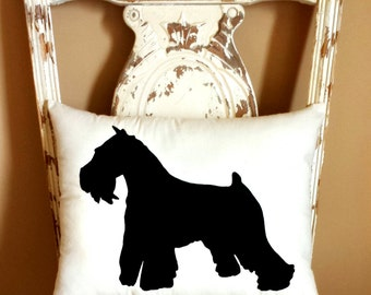Schnauzer Dog Silhouette Throw Pillow, Decorative Pillow, Home Decor, Dog Pillow, Dorm Decor, Christmas Gift, Gift for Her, Gift for Mom