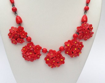 Handmade Red Glass Floral and Beaded Necklace - 1950s Fabulous!