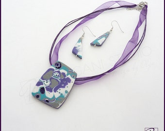 Modern Jewelry Set Polymer Clay Pendant Necklace and Earrings Teal Pirple Grey Pastel - 'Hope' - Mokume Gane Art Jewelry. Ready to ship.