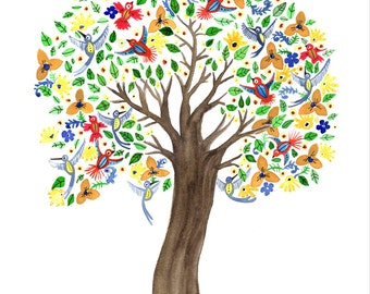 Bird and Flower Tree Wedding Nursery 8x10 print