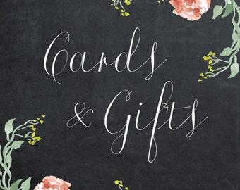 floral wedding sign, printable wedding sign, digital wedding sign, printable cards gifts sign, chalkboard wedding sign, 8 x 10, you print
