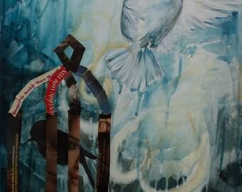 Original Mixed Media Giclee Print. Freedom, bird, caged. 16x20
