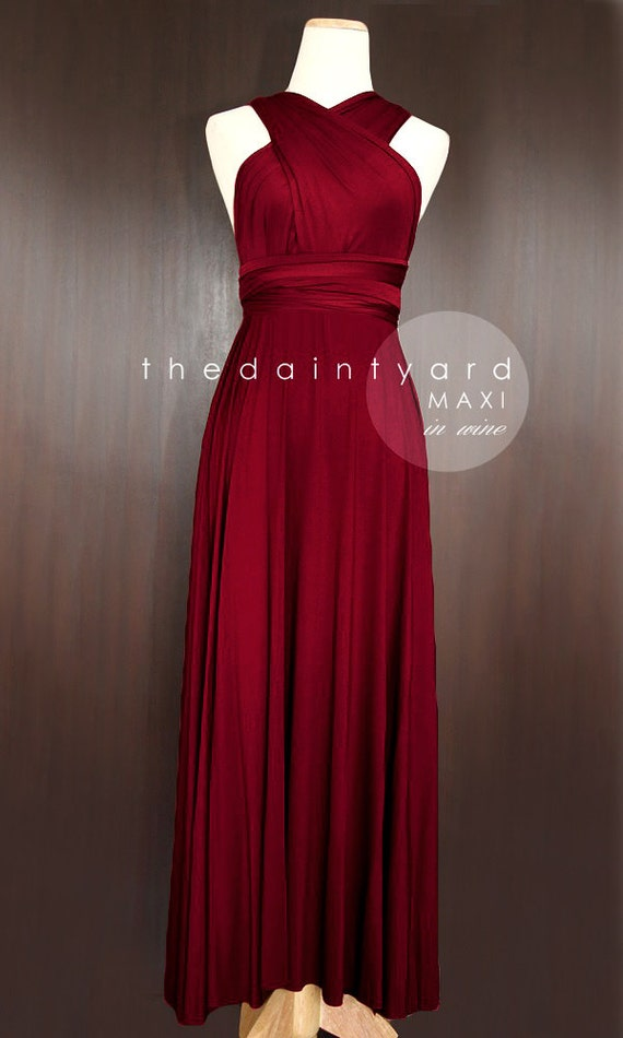 MAXI Wine Red Bridesmaid Dress Prom Dress Wedding by thedaintyard