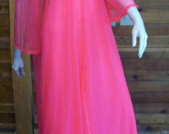 Vintage GOSSARD ARTEMIS Nightgown and Robe Set Petite Chiffon Dark Peach