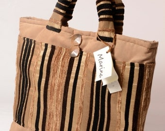 Model shopper bag with outer pocket in furnishing fabrics in beige and brown tones code 1033