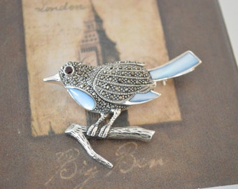 Robin Bird Brooch - Marcasite Pin - Robin's Egg Blue Animal Pin - Vintage Animal Brooch Pin - Sterling Silver Lapel Brooch - Silver Jewelry