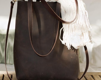Dark Brown Distressed Leather bag. Sa Riera leather Tote. Premium sturdy oiled leather. Handmade