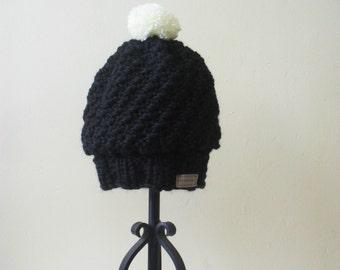 black slouchy beanie pom pom hat knit winter hat wool beanie