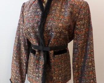 Vintage Chinese Jacket Fur Trim