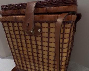 Vintage Picnic Basket with Shoulder Strap Wicker