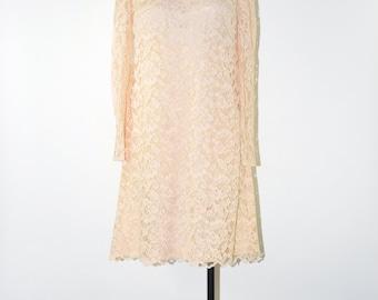 60s blush lace dress / 1960s pale pink dress / lace babydoll dress / open back dress
