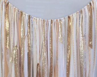 Shades of Gold Sequin & Lace Ribbon Sparkle Wedding Backdrop Fabric Garland - Curtain  - Rustic Glam